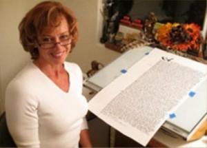 Calligrapher Domenica Corbo in her studio