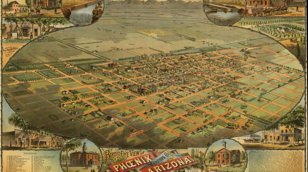 Dyer, C. J, Byrnes Litho, and Label & Litho. Co Schmidt. Bird's eye view of Phoenix, Maricopa Co., Arizona. Phoenix, 1885. Map.